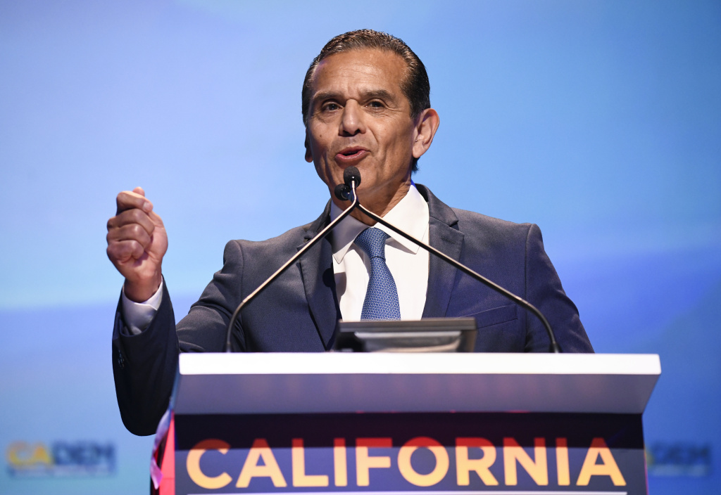 Democratic gubernatorial candidate Antonio Villaraigosa speaks at the 2018 California Democrats State Convention Saturday, Feb. 24, 2018, in San Diego.