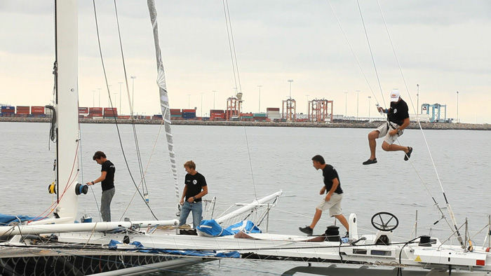 The world's fastest sailboat is in Los Angeles and the crew is hoping to make their way to Hawaii faster than anyone has before.