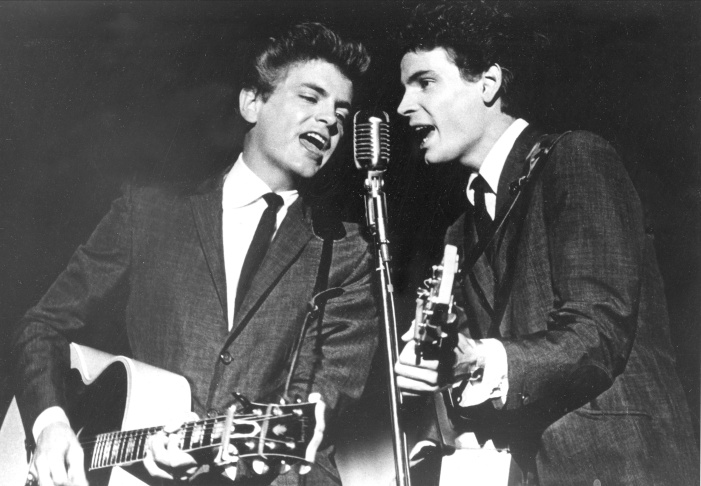Phil and Don Everly, left to right, of the Everly Brothers joke around for photographers on Jan. 4, 1984 in New York City.