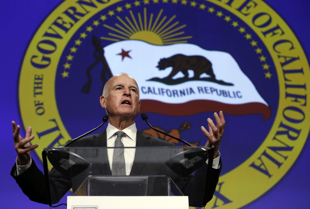 FILE -- In this May 28, 2015 file photo California Gov. Jerry Brown speaks at a gathering of political, business and community leaders at the annual California Chamber of Commerce Host Breakfast in Sacramento, Calif.