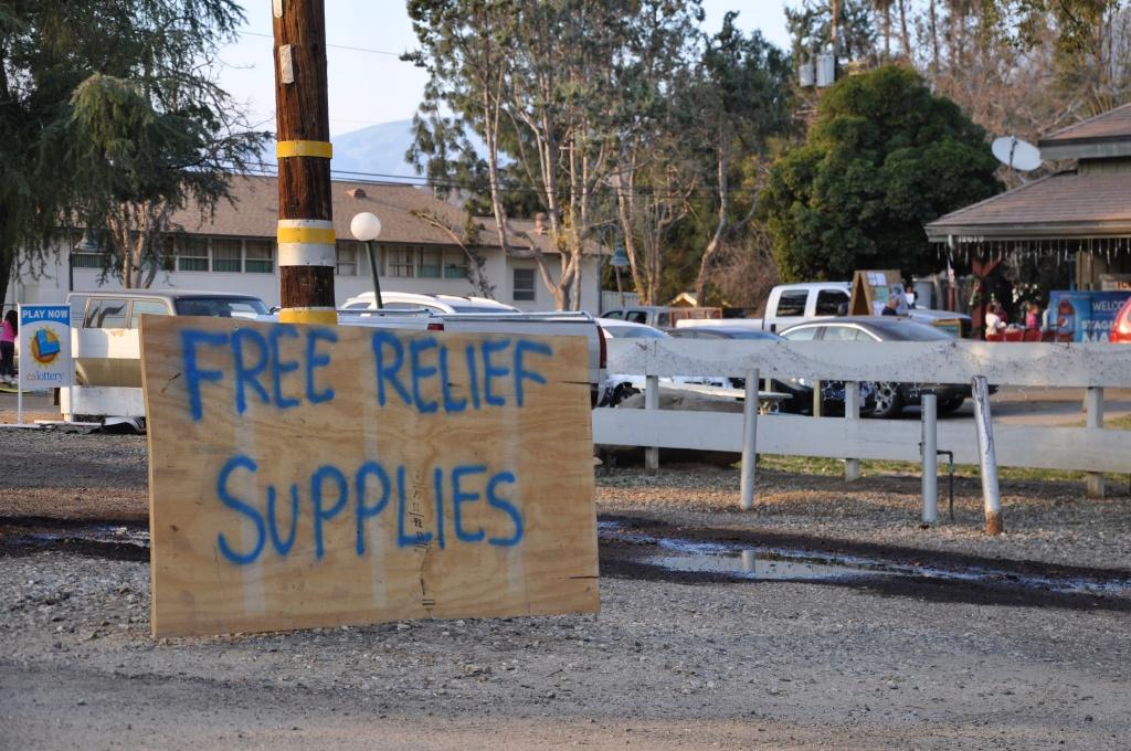 A sign along California Route 150 alerts drivers to the Thomas Fire relief effort that's cropped up at Stagecoach Station in Upper Ojai.