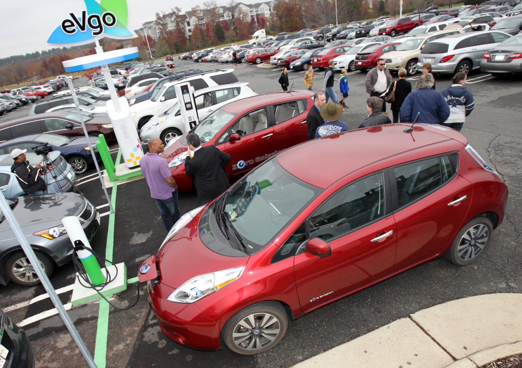 An NRG eVgo electric car fast-charging station was on display during the