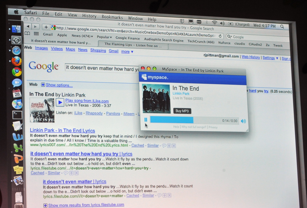 Google's music search feature is demonstrated at a press conference to announce the new feature, called OneBox, at Capitol Records headquarters in Los Angeles on October 28, 2009.