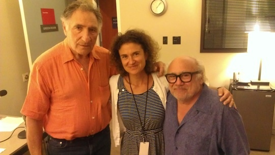 KPCC's Alex Cohen with Judd Hirsch (L) and Danny DeVito (R)