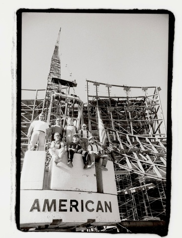 Iron Workers pose for a photo during the construction of Walt Disney Concert Hall