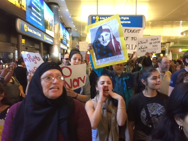 Protesters crowded the turnaround at LAX, causing officials to shut down the arrivals level at Terminals 3, 4 and Bradley International turnaround Sunday afternoon.