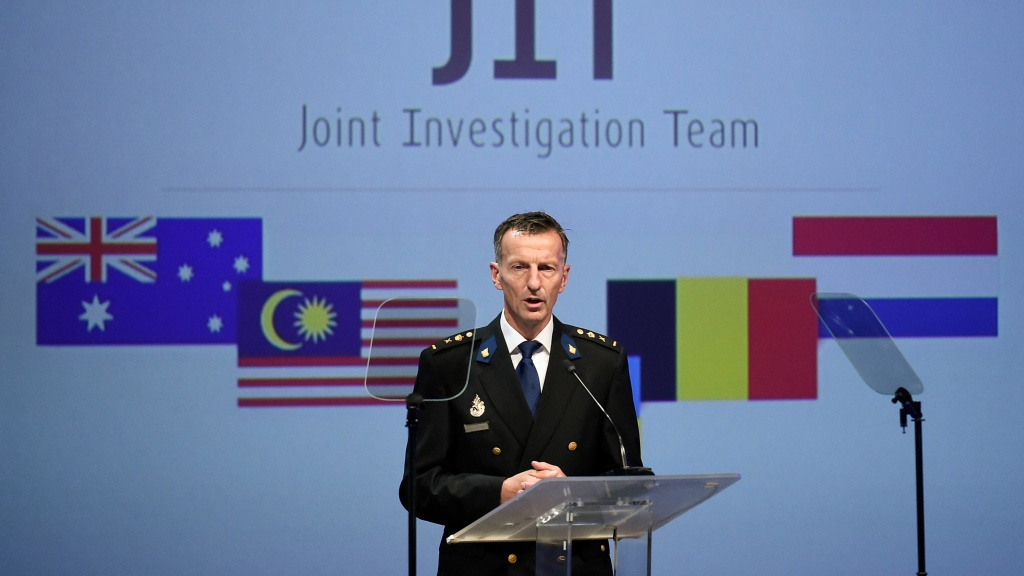 Dutch National Police chief Wilbert Paulissen speaks Wednesday at a news conference in the Netherlands. International investigators accused four people of being involved in the downing of Malaysia Airlines Flight 17 in eastern Ukraine.