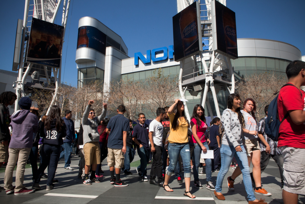Students from middle and high schools across LAUSD line up at the Nokia Theatre to watch the documentary