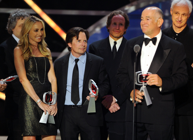 (L- R) Tracy Pollan, Michael J. Fox, , Gary David Goldberg, and Michael Gross of the cast and crew of