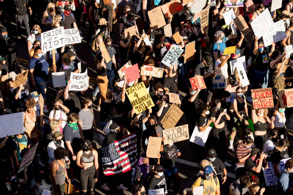 Protesters participate in the YG x BLMLA x BLDPWR protest and march on June 07, 2020 in Los Angeles, California.