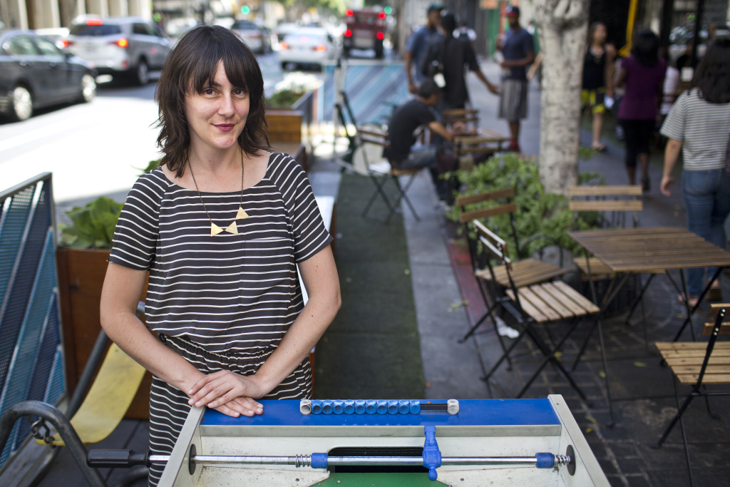 Valerie Watson is assistant pedestrian coordinator for the L.A. Department of Transportation. Watson has pushed for bike lanes and other people-friendly projects in downtown, including
