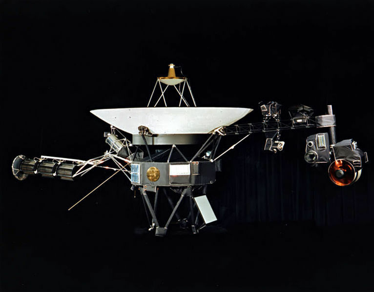 A photograph of one of the two identical Voyager space probes – Voyager 1 and Voyager 2 – launched in 1977.