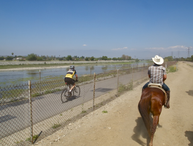 Riding along the San Gabriel River in Los Angeles.