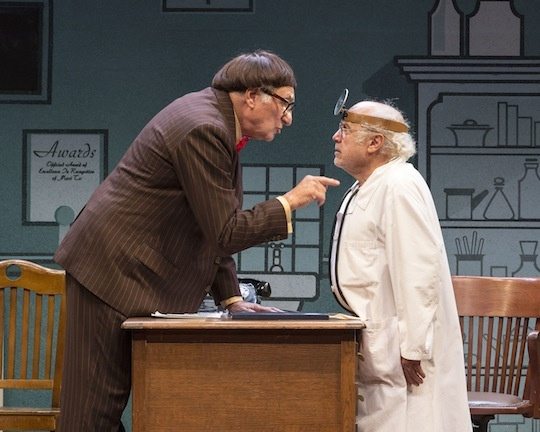 "Judd Hirsch (L) and Danny DeVito in Neil Simon's ""The Sunshine Boys,"" directed by Thea Sharrock, at the Center Theatre Group/Ahmanson Theatre."