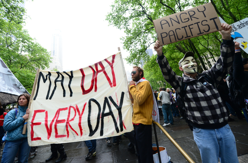 Occupy Wall Street participants gather to stage a May Day march at Bryant Park in New York, May 01, 2012.
