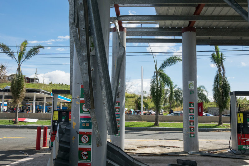 Puma Gas Station, across the street from the Gulf Route 65 gas station, was damaged during Hurricane Maria. Authorities in Puerto Rico say there isn't a gas shortage. Instead, they say that distribution has been disrupted by the storm.