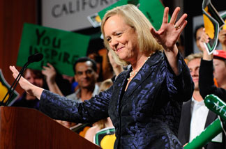 California Republican gubernatorial candidate and former eBay CEO Meg Whitman concedes to governor elect to Jerry Brown during a campaign party on November 2, 2010 in Universal City, California.