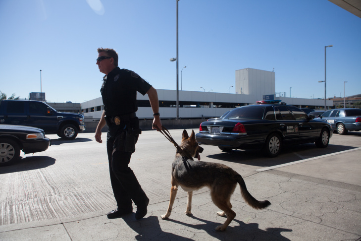 A police with a K-9 unit at LAX on November 1st, 2013.