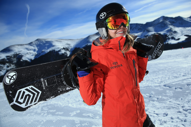 Amy Purdy hikes up the hill during a training session on December 18, 2013 in Copper Mountain, Colorado.