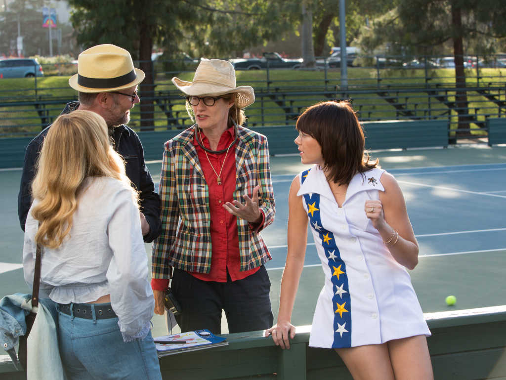 Directors Jonathan Dayton and Valerie Faris with Emma Stone on the set of