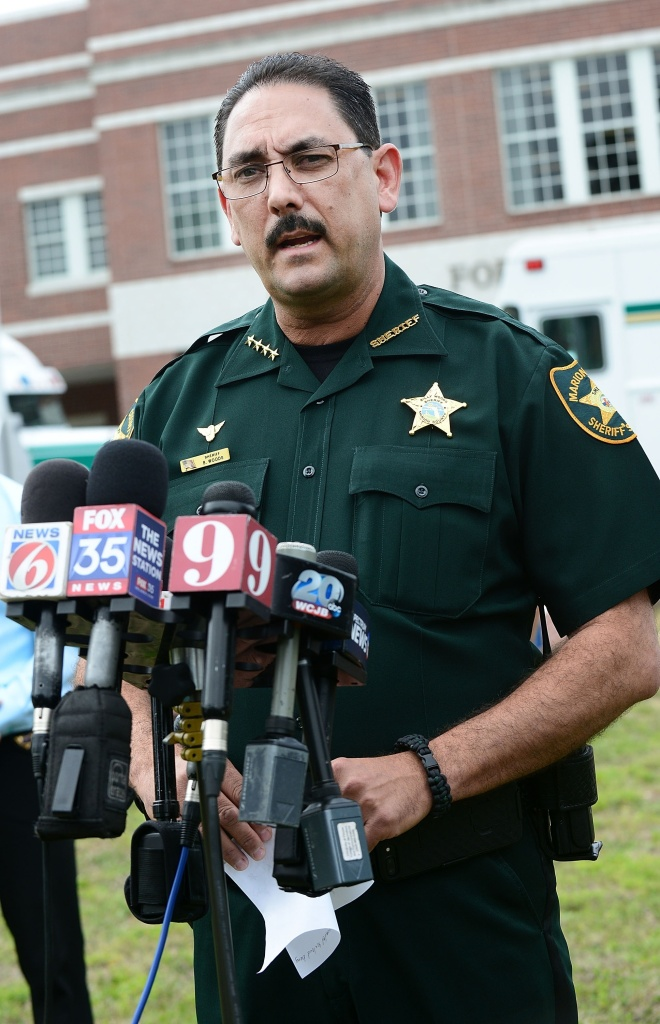 Marion County Sheriff Billy Woods speaks during a press conference in Ocala, Fla., in 2018. Woods sent an email Tuesday informing the approximately 900 people working in the department that