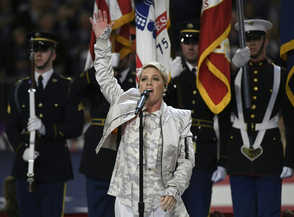 Pink sings the national anthem prior to Super Bowl LII at U.S. Bank Stadium on February 4, 2018 in Minneapolis, Minnesota.