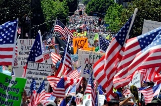 Thousands of demonstrators march during a May Day immigration rally on May 1, 2010, in Los Angeles.
