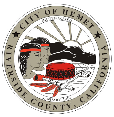Hemet's official seal. The Riverside County city is home to 78,657 residents.