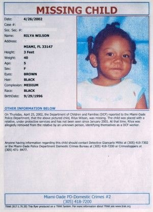 A poster seeking information on Rilya Wilson, a young Miami girl who has been missing since 2001