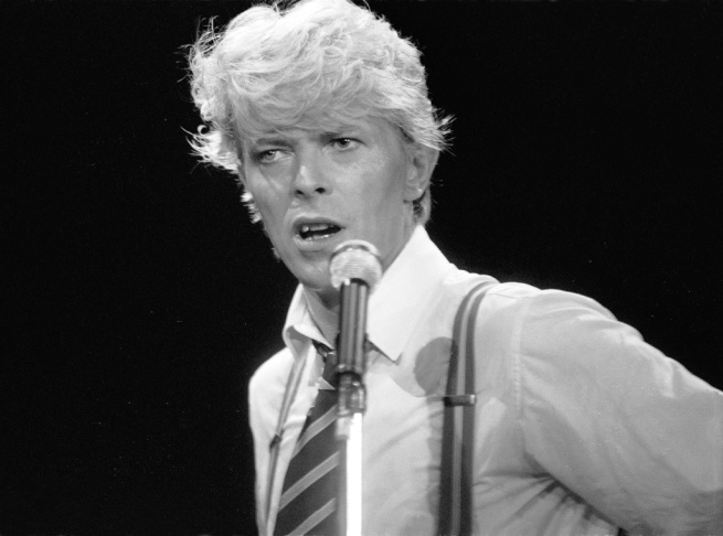 David Bowie performs at Wembley Arena in London in 1983.