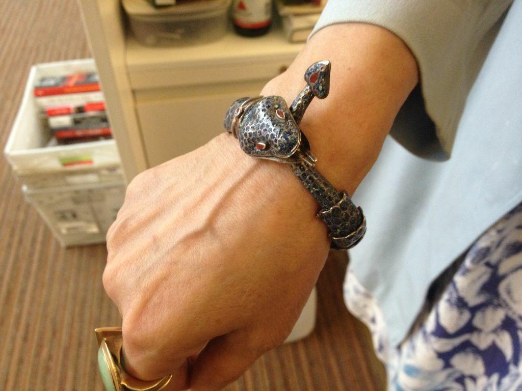 Patt Morrison's snake bracelet.