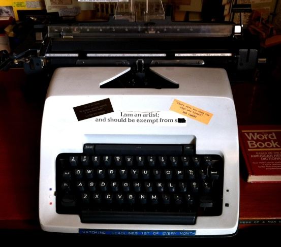 No computers for writer Harlan Ellison. He uses this old Olympia, and keeps spare ribbons in the refrigerator.