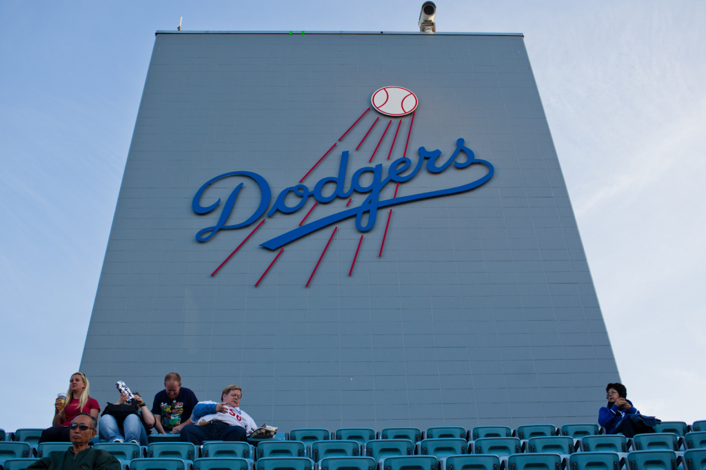 The sign in the upper decks of Dodgers Stadium.