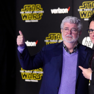 "HOLLYWOOD, CA - DECEMBER 14:  Filmmaker George Lucas (L) and writer-director J.J. Abrams attend the Premiere of Walt Disney Pictures and Lucasfilm's ""Star Wars: The Force Awakens"" on December 14, 2015 in Hollywood, California.  (Photo by Frazer Harrison/Getty Images)"
