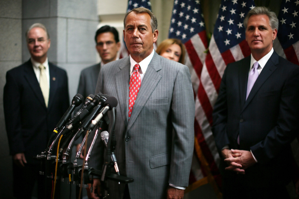 U.S. Speaker of the House Rep. John Boehner (R-OH) (3rd L) listens to questions as (L-R)  House Republican Policy Committee Chairman Rep. Tom Price (R-GA), House Majority Leader Rep. Eric Cantor (R-VA), Rep. Nan Hayworth (R-NY), and House Majority Whip Rep. Kevin McCarthy (R-CA) looks on during a news conference July 10, 2012 on Capitol Hill in Washington, DC. House Republican leadership discussed on U.S. President Barack Obama's push to extend tax cut for middle class families and the repeal of Obamacare law.