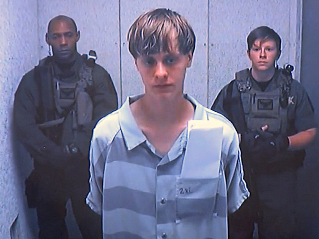 Dylann Roof appears via video before a judge, in Charleston, S.C., on June 19, 2015.