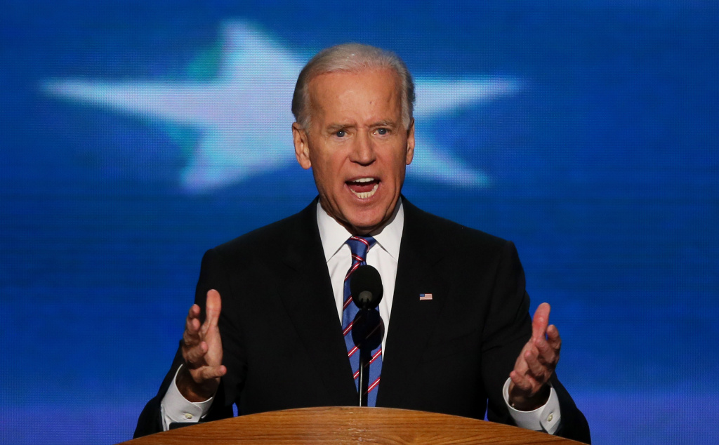 Democratic vice presidential candidate, U.S. Vice President Joe Biden speaks on stage during the final day of the Democratic National Convention at Time Warner Cable Arena on September 6, 2012 in Charlotte, North Carolina. The DNC, which concludes today, nominated U.S. President Barack Obama as the Democratic presidential candidate.