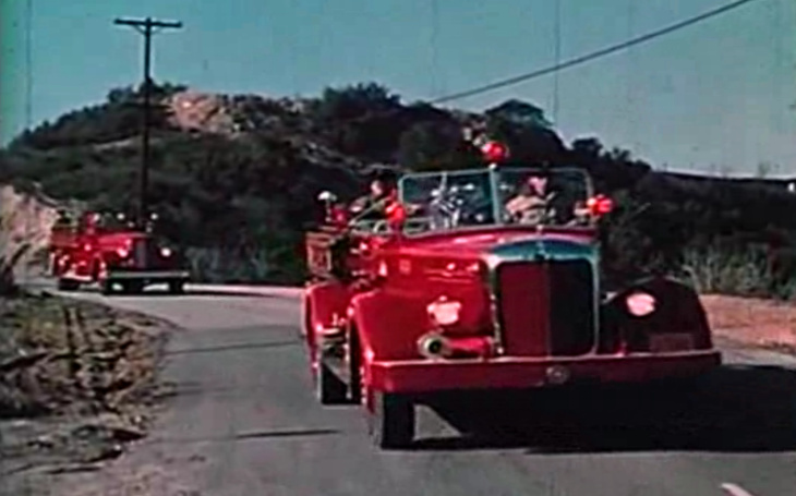 A frame from 'Design for Disaster,' a documentary film about the 1961 Bel Air fire.