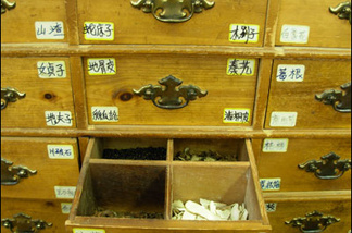 The herb drawers at Gin Herb, at Ord and North Spring, in Chinatown.