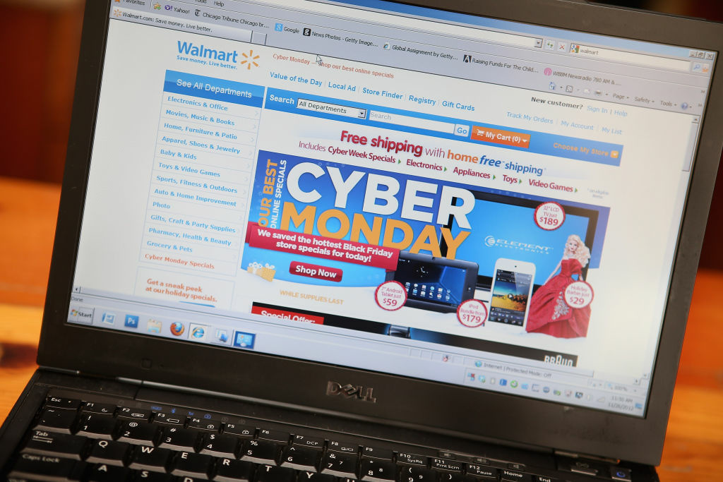 Walmart advertises Cyber Monday sales on the company's website on November 26, 2012 in Chicago, Illinois. Americans are expected to spend $1.5 billion while shopping online today, up 20 percent from last year.
