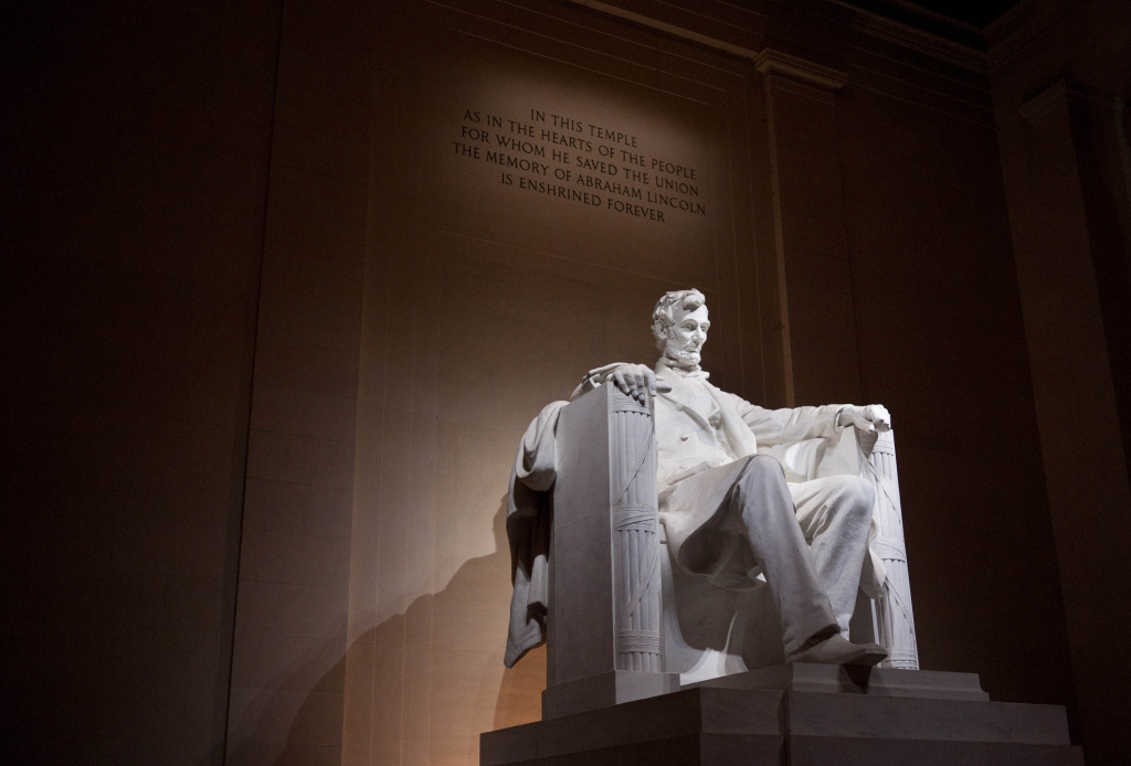 An August 20, 2011 photo shows the statue of Abraham Lincoln at the Lincoln Memorial.