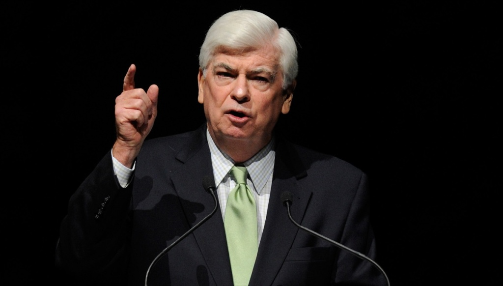 Former U.S. Sen. and new Chairman and CEO of the Motion Picture Association of America Chris Dodd speaks at The Colosseum at Caesars Palace during CinemaCon, the official convention of the National Association of Theatre Owners, March 29, 2011 in Las Vegas, Nevada.