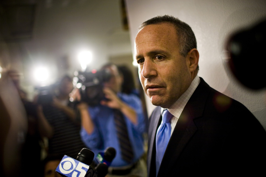 Senate President Darrell Steinberg speaks with reporters.