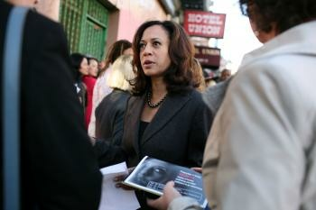 San Francisco District Attorney Kamala Harris speaks to supporters before a press conference.