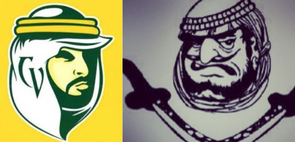 The new face of the 'Mighty Arabs' (l.) replaces the retired 'Arab' mascot that triggered complaints by Arab-Americans.