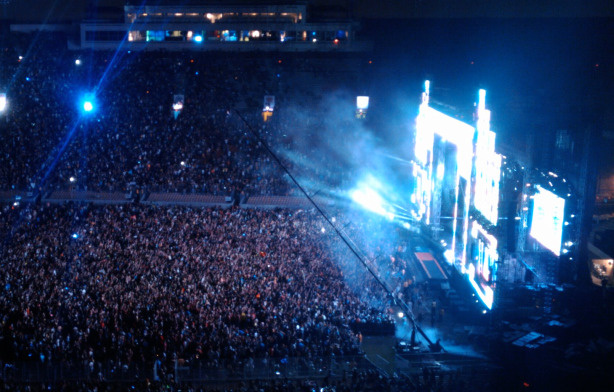 Thousands of attendees crowd the stage at the Electric Daisy Carnival rave at the Los Angeles Coliseum, June 25, 2010.