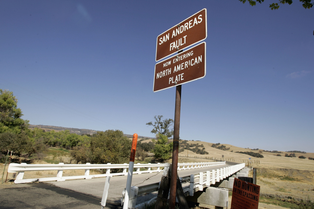 PARKFIELD, CA - SEPTEMBER 30:  The Parkfield Coalinga bridge crosses over the San Andreas fault on the Parkfield Coalinga Road on September 30, 2004 Parkfield, California.  The tiny central California town with a population of 19 which claims to be known as