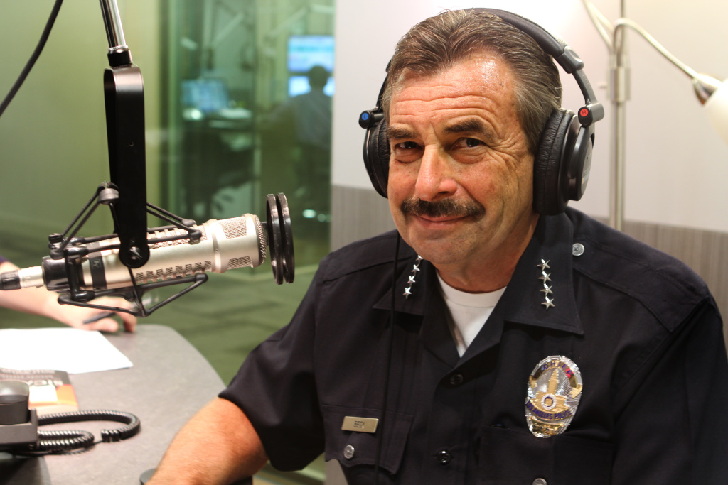 Los Angeles Police Chief Charlie Beck in the KPCC Studios.