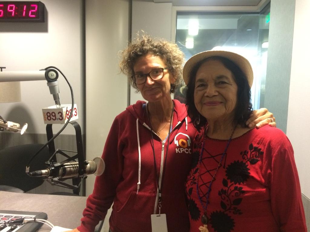 Labor activist Dolores Huerta in the KPCC studio with