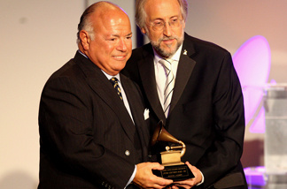 Frank Dileo (L) accepts an award for recording artist Michael Jackson from Neil Portnow, President/CEO of the Recording Academy during the 52nd annual GRAMMY Awards-Special Merit Awards at the Wilshire Ebell Theater on January 30, 2010 in Los Angeles, California.